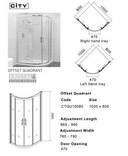 City 1000x800 Offset Quadrant Shower Enclosure Offset