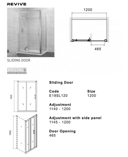 Revive 1300 sliding shower door adjustment 1240 1300mm for 1300 mm sliding shower door