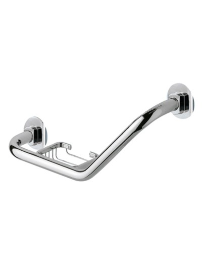 Edera Angled Grab Bar With Soap Basket
