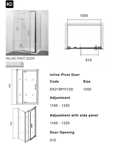 K2 1200 pivot inline shower enclosure for 1200 pivot shower door