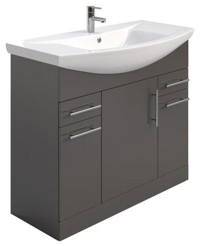 Belmont 105cm Vanity Unit Gloss Grey