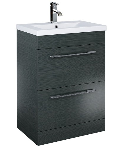 Cairo 60cm Vanity Unit 2 Drawer Grey and Basin