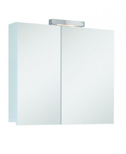 Hampton 2 Door Mirror Cabinet 70cm White with Light Fitting