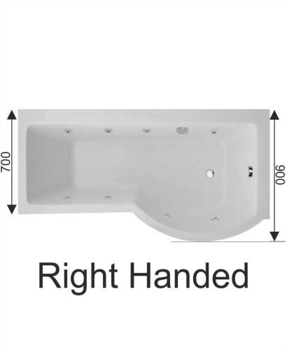 P Shaped 1700 X 900 Shower Bath Right Hand 8 Jet Bath Cw Panel Amp Bath Screen