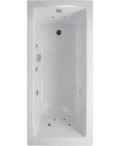 Plane 1800x800 Single Ended 12 Jet Whirlpool Bath - Extra Deep