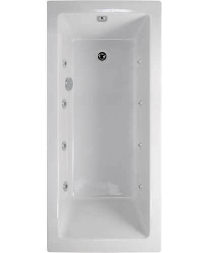 Plane 1600x700 Single Ended 8 Jet Whirlpool Bath - Extra Deep