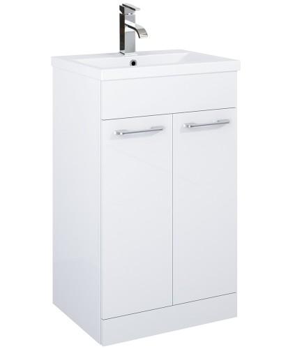 Otto Plus 50cm Slimline Vanity Unit 2 Door White and Basin