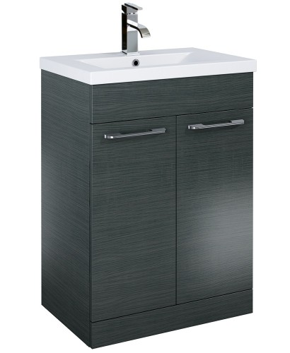 Otto Plus 60cm Slimline Vanity Unit 2 Door Grey and Basin
