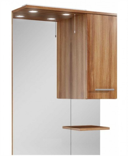 Belmont 70cm walnut mirror with led light pullcord for Bathroom cabinets 70cm wide