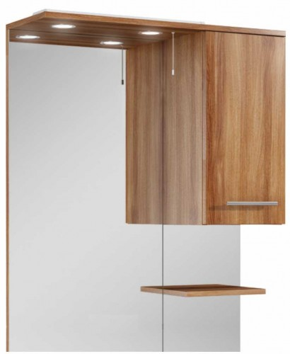 Belmont 80cm walnut mirror with led light pullcord for Bathroom cabinets 80cm wide
