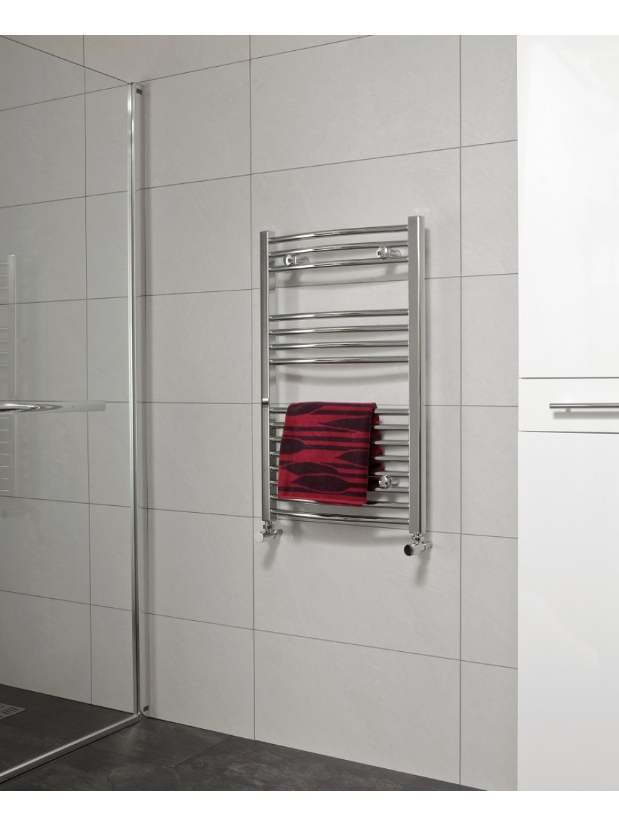 Curved 800x600 Heated Towel Rail Chrome