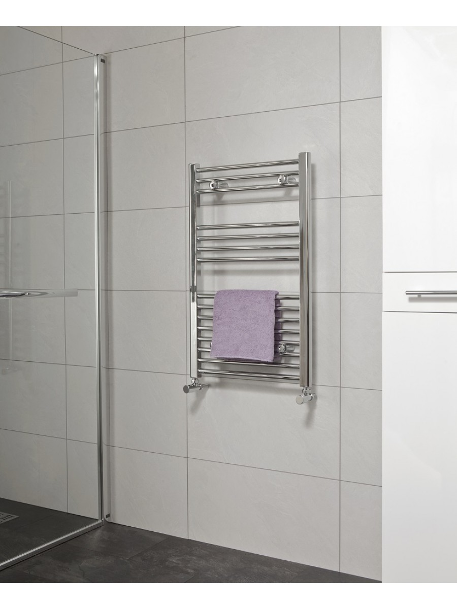 Straight 800x600 Heated Towel Rail Chrome
