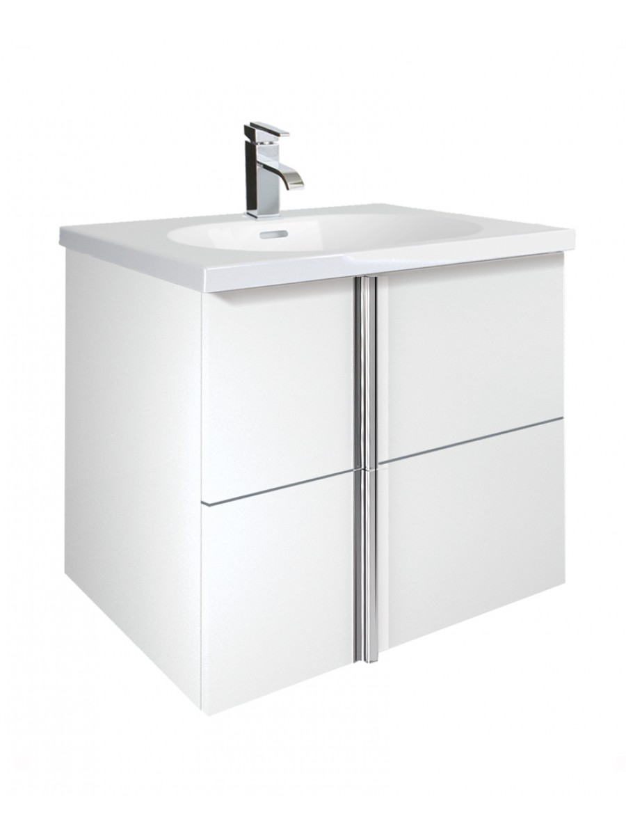 Avila White 2 Drawer 60cm Wall Hung Vanity Unit and Idea Basin