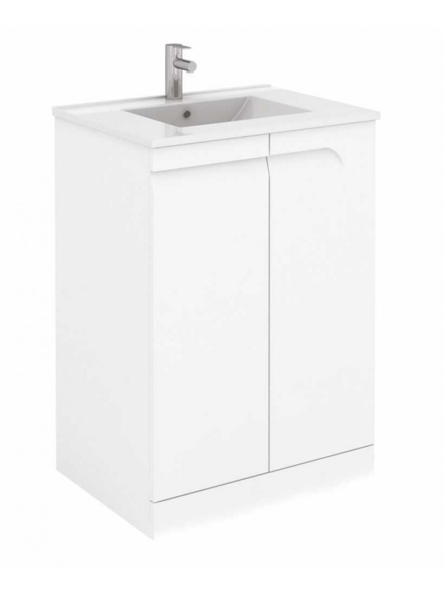 Brava 60 white floor standing vanity unit and slim basin for Floor standing bathroom furniture