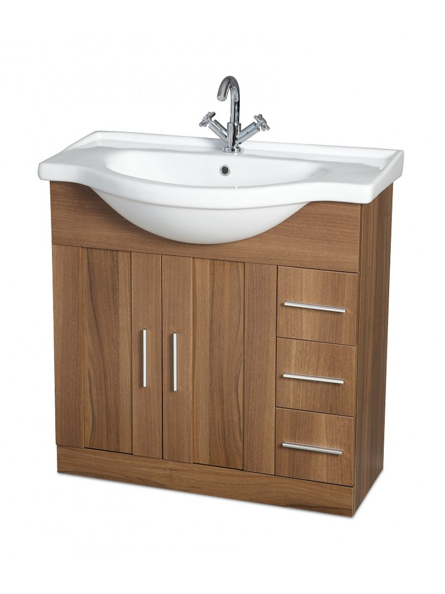 Oslo Walnut 85cm Vanity Unit & Basin