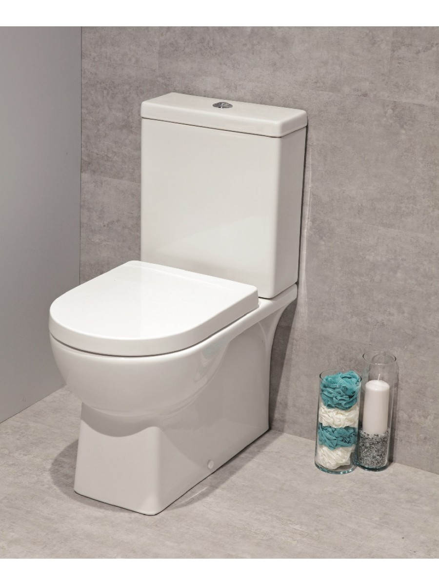 Denver Fully Shrouded Toilet and Soft Close Seat - multi outlet