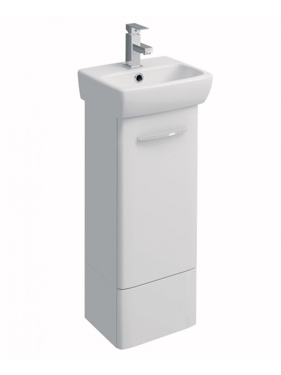E100 360 white vanity unit floor standing for Floor standing bathroom furniture