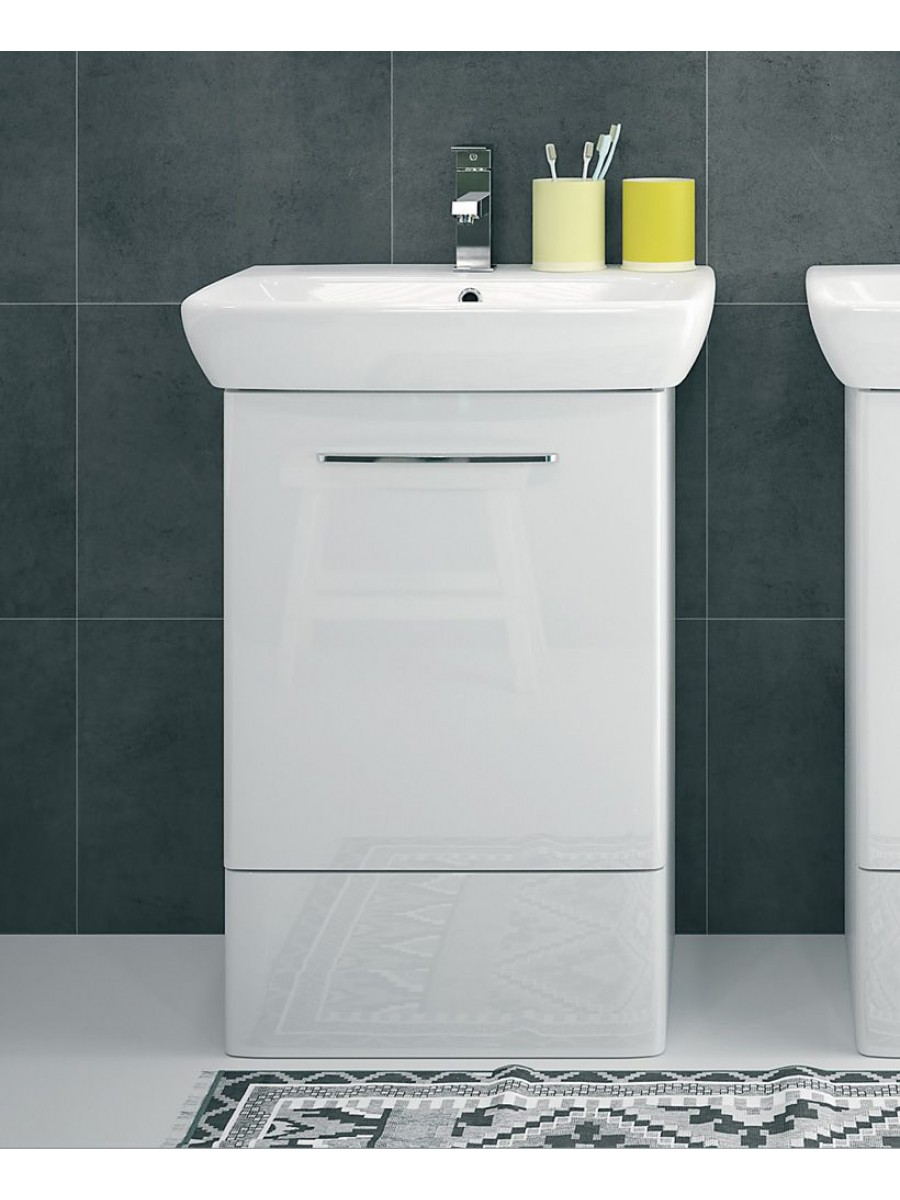 E100 550 white vanity unit floor standing for Floor standing bathroom furniture