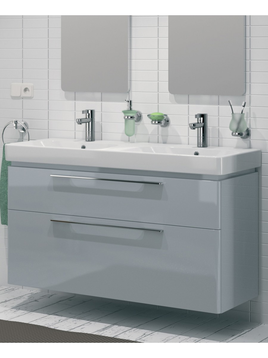 E500 1200 Grey Double Vanity Unit Wall Hung. 1200 Grey Double Vanity Unit Wall Hung