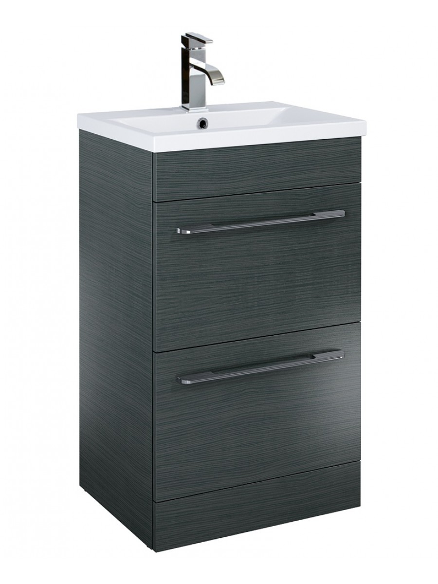 Otto Plus 50cm Vanity Unit 2 Drawer Grey and Basin