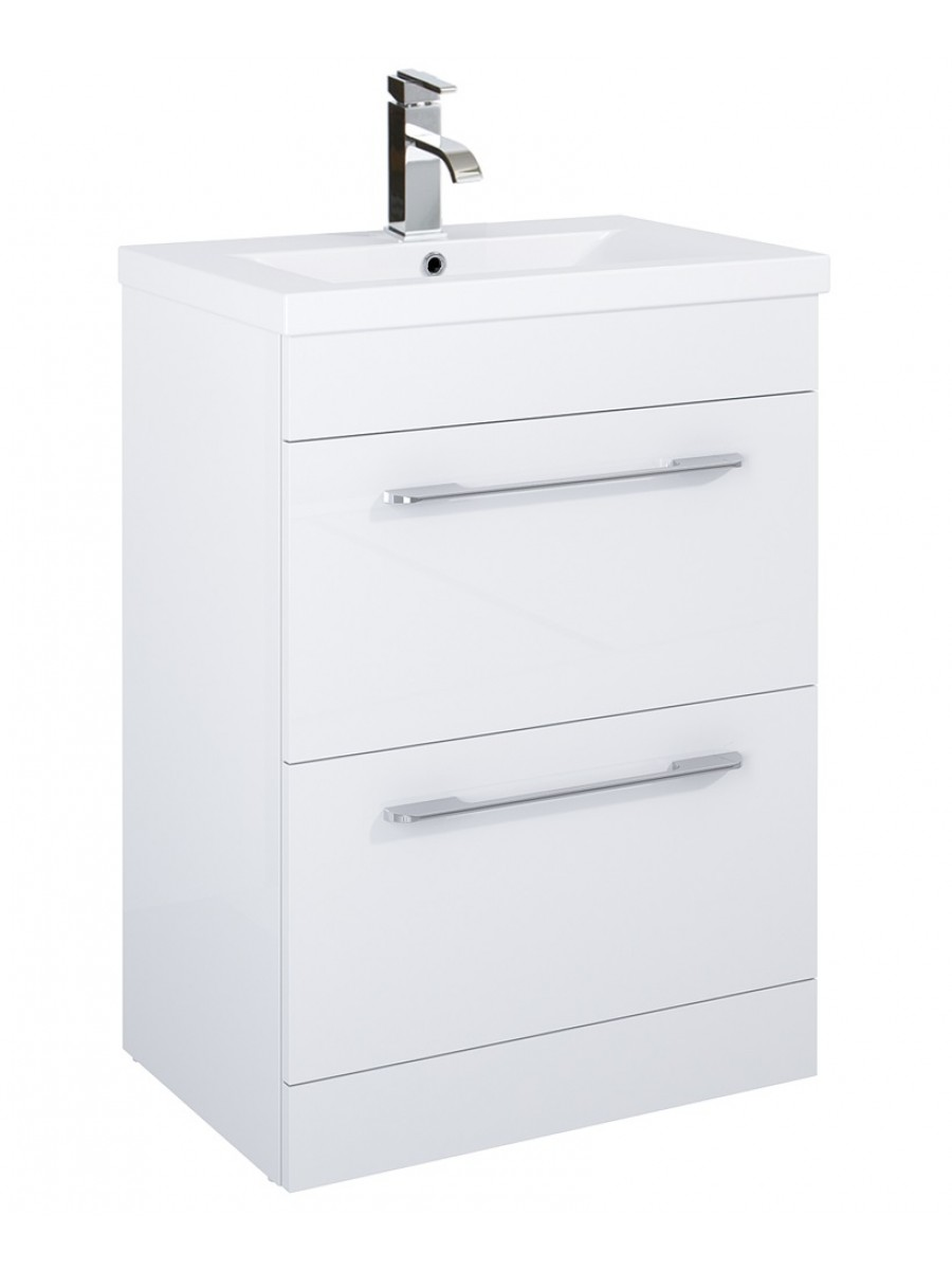 Cairo 60cm Vanity Unit 2 Drawer White and Basin