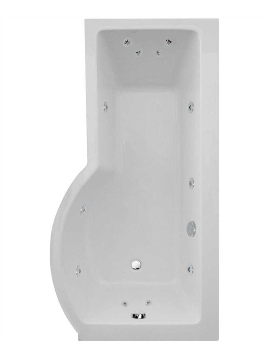 P Shaped 1700 x 900 shower bath Right hand 12 jet bath cw Panel & Bath