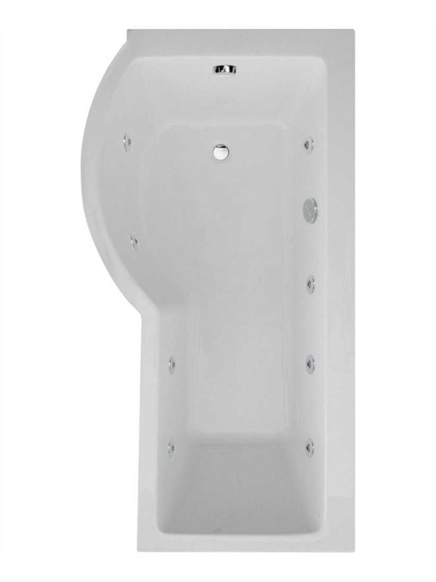 Shaped 1700 x 900 shower bath Left hand 8 jet bath cw Panel & Bath ...