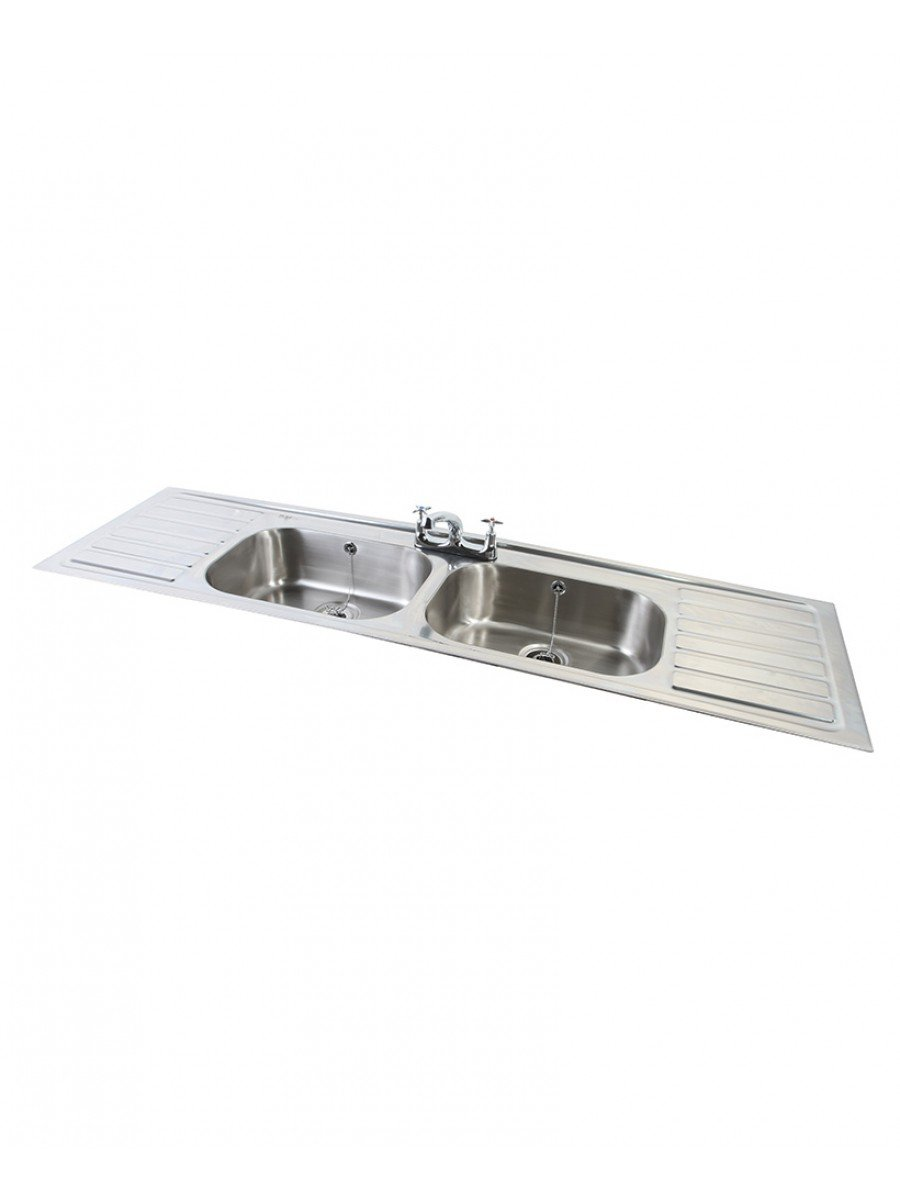Ibiza HTM64 Inset Hospital Sink 1828x500mm Double Bowl Double Drainer
