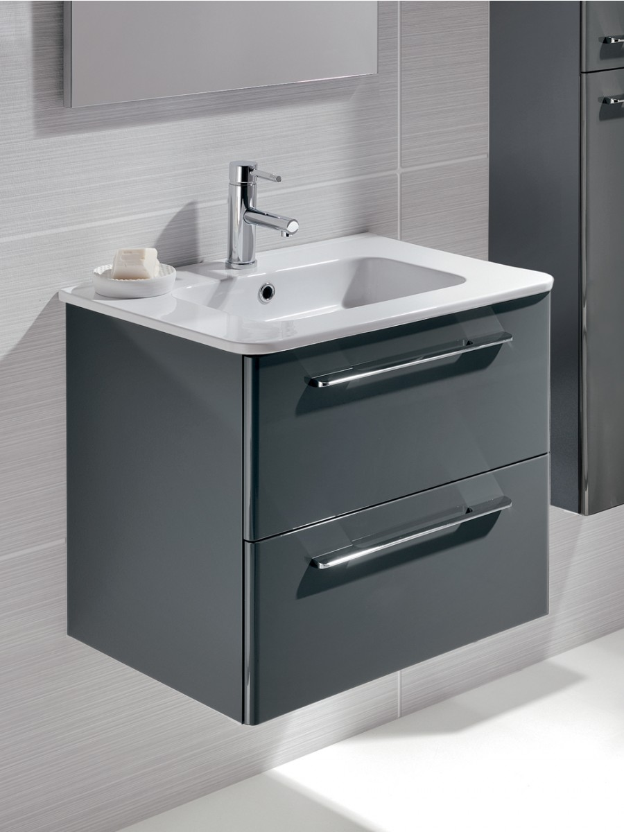 Gloss Grey 60cm Vanity Unit 2 Drawer