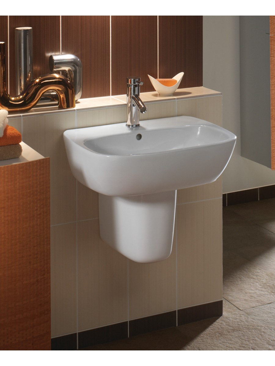 contemporary bathroom basins moda basin 55cm amp semi pedestal md4231 gl4970 12429