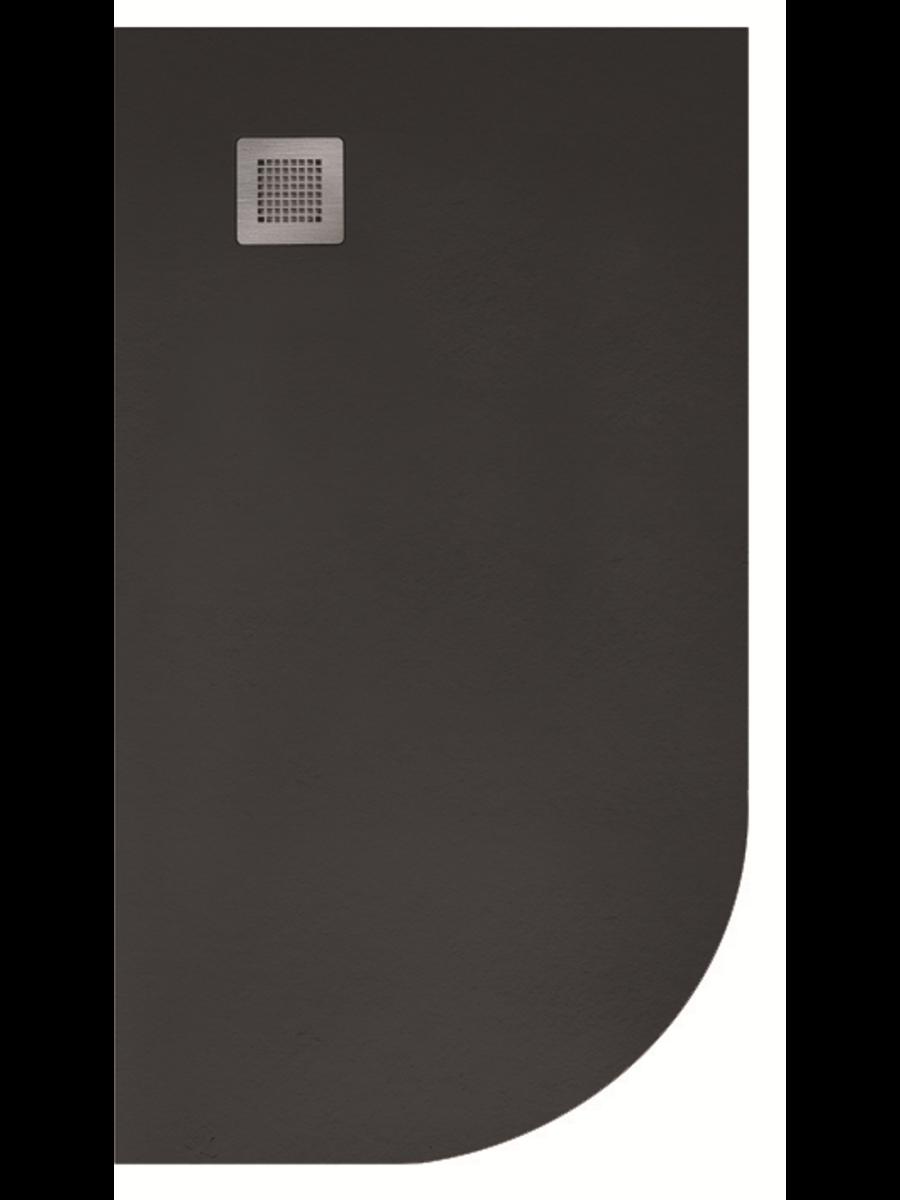 Slate 1000x800 Offset Quadrant Shower Tray Lh Black Anti