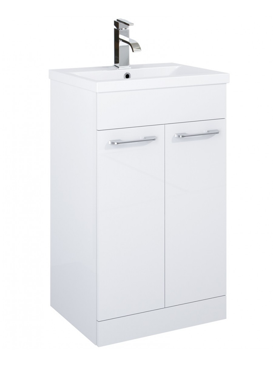 Exceptional ... Porto 50cm Slimline Vanity Unit 2 Door White And Basin