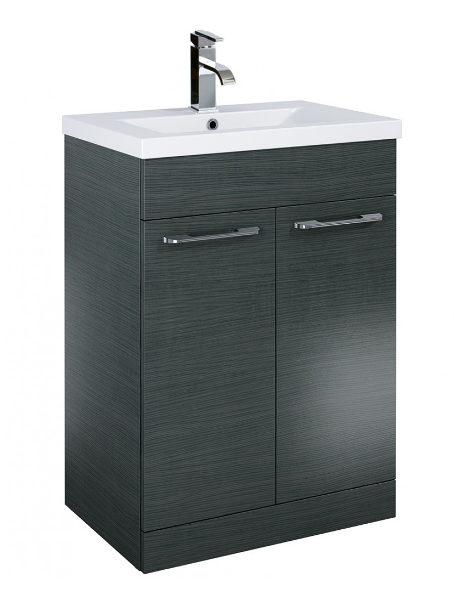 Porto 60cm Slimline Vanity Unit 2 Door Grey And Basin