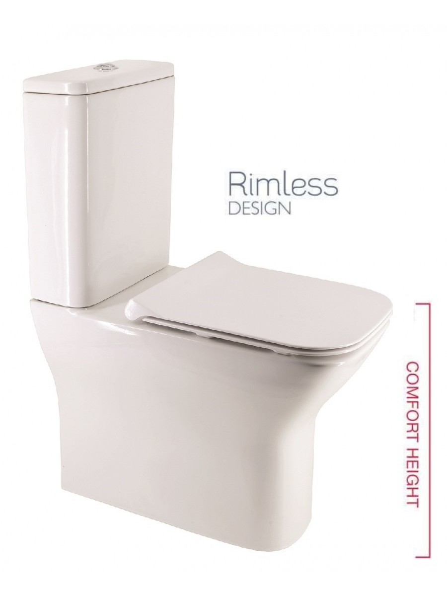 Sophia Comfort Height Fully Shrouded RIMLESS Toilet and Slim Soft Close Seat
