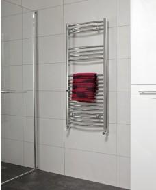 Curved 1200x500 Heated Towel Rail Chrome