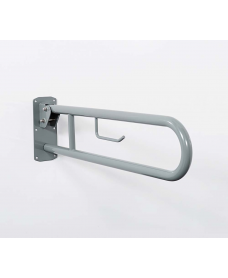 Stainless Steel Lift & Lock Hinged Support Rail c/w Toilet Roll Holder