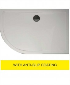 Kristal Surface 25mm 1200x900 Offset Quadrant LH Slimline Shower Tray and FREE 90mm Waste - Anti Slip