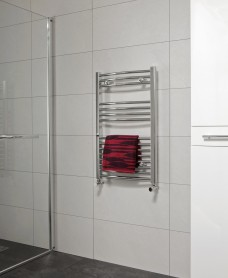 Curved 800x600 Heated Towel Rail Chrome - *Special Offer - includes radiator valves