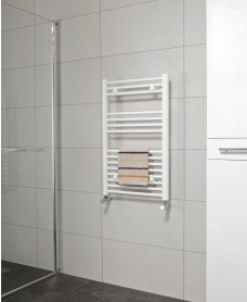 Straight 800x500 Heated Towel Rail White - *Special Offer includes radiator valves