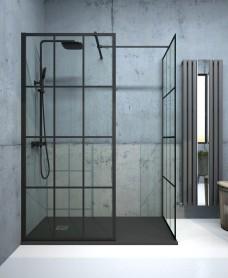 Aspect Black Trellis 1100mm Wetroom Panel