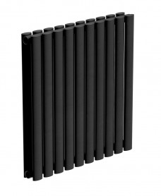 Amura Elliptical Tube Horizontal Designer Radiator  600 X 600 Double Panel Black