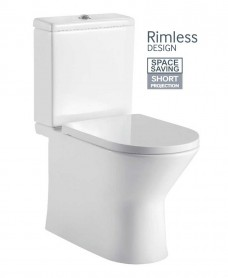 Alice Fully Shrouded Close Coupled Rimless WC with Quick Release Slim Soft Closing Seat