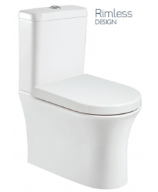 Amanda Fully Shrouded Close Coupled Rimless WC with Soft Closing Quick Release Seat