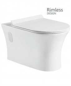 Wall Hung Design, Rimless WC, Soft Closing SLIM Seat  - QR