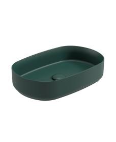 Avanti Oval 55cm Vessel Basin with Ceramic Click Clack Waste - Forest Green