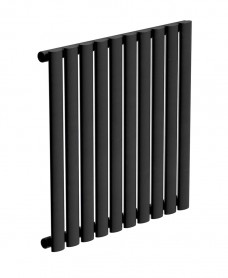Amura Elliptical Tube Horizontal Designer Radiator  600 X 600 Single Panel Black