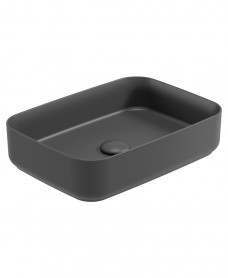 Sonas-A Square 50cm Vessel Basin with Ceramic Click Clack Waste - Charcoal Grey