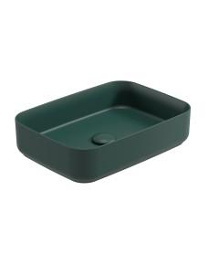 Avanti Square 50cm Vessel Basin with Ceramic Click Clack Waste - Forest Green