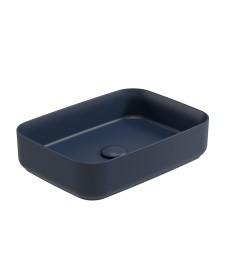 Avanti Square 50cm Vessel Basin with Ceramic Click Clack Waste - Parisian Blue