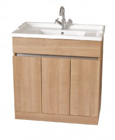 Athens Oak 80cm Vanity Unit & Victoria Washbasin - **Special Offer includes Choice of Tap